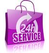 Einkaufstasche 24-Sunden-Service, lila