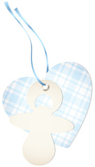 Hangtag Pacifier & Heart Check Blue Bow