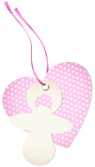 Hangtag Pacifier & Heart Hearts Pink Bow