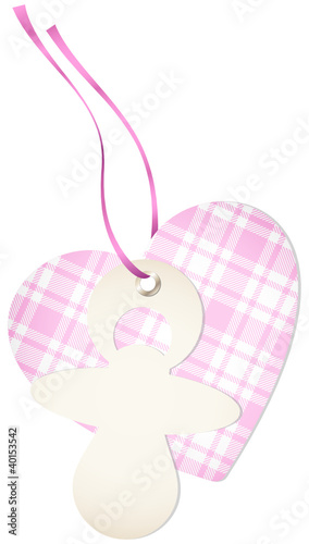 Hangtag Pacifier & Heart Check Pink Bow