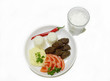 kofte plate with ayran yogurt drink