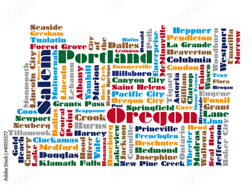 word cloud map of Oregon state