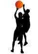 Basketball mans and ball