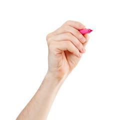 magenta felt pen in hand isolated on white