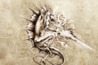 Tattoo art, sketch of a dragon burning