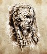 Sketch of tattoo art, Portrait of american indian chief in natio