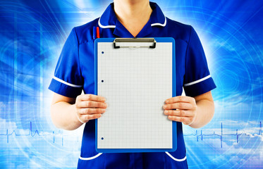 nurse holding graph paper