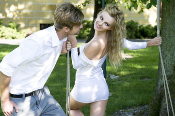 Beauty couple in garden