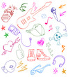 collection of rock and music doodles