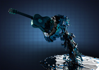 Guitar in water