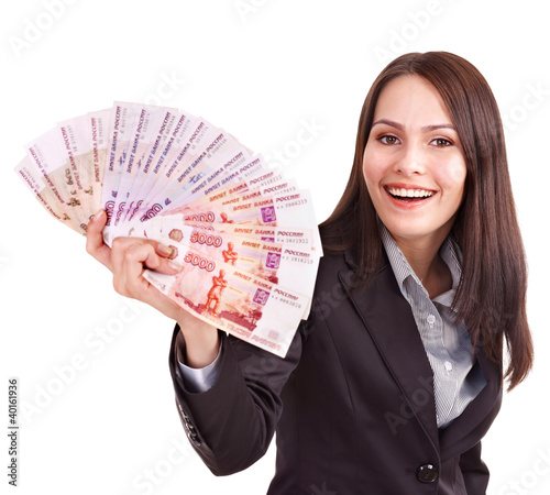 Woman with  money. Russian rouble.