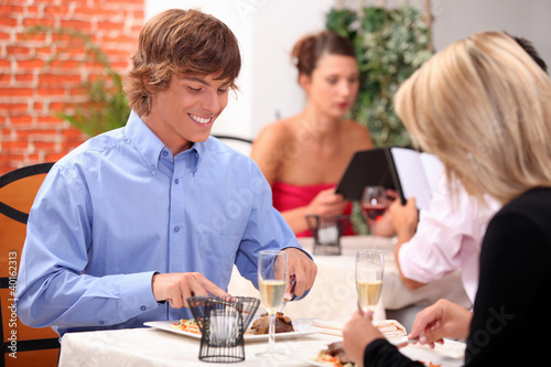 Attractive couple on romantic date