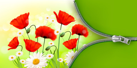 Summer flower background with zipper. Vector