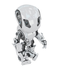Cool futuristic white toy robot