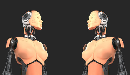 Two robotic woman with human skin