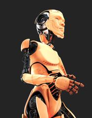 Stylish cyber man in profile