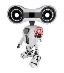 White stylish robotic toy holds red at symbol