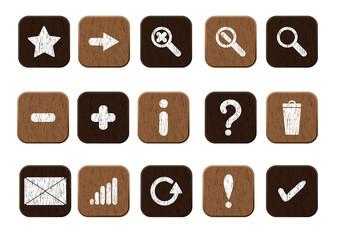 wooden icons set white