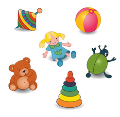 Set of baby's toys elements.Vector illustration