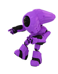 Faceless violet stylish robotic toy pointing