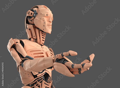 Unusual cyborg with human skin and fish properties gesturing