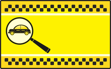 yellow background visiting card with cab and magnifier