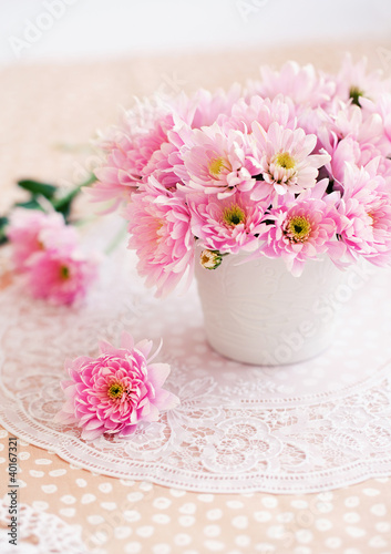 Deurstickers Dahlia Still life with a pink chrysanthemums