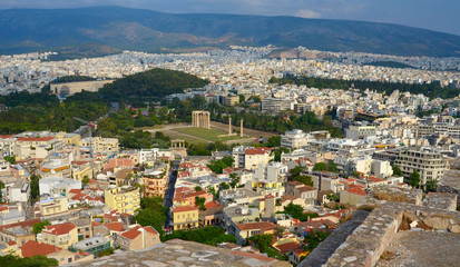 Cityscape of Athens. View from Acropolis. Greece