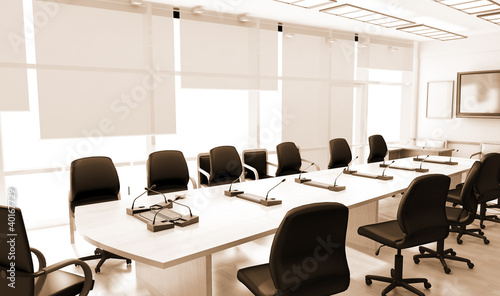 Office interior with leather furniture - 40167729
