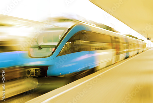 Modern speed train on a station