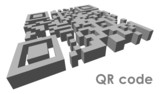 3D QR code in perspective. Vector