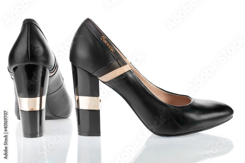 Beautiful women's leather shoe with shiny heels