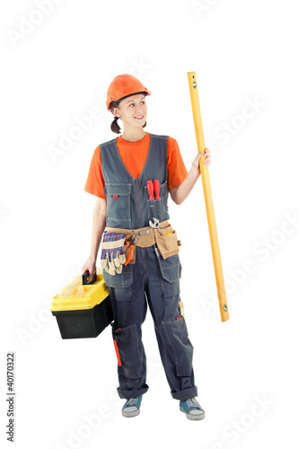 repair woman isolated