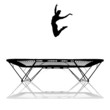 silhouette of female gymnast on trampoline