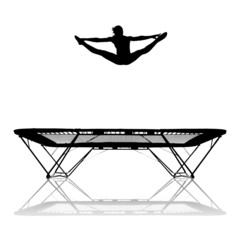 silhouette of girl on trampoline