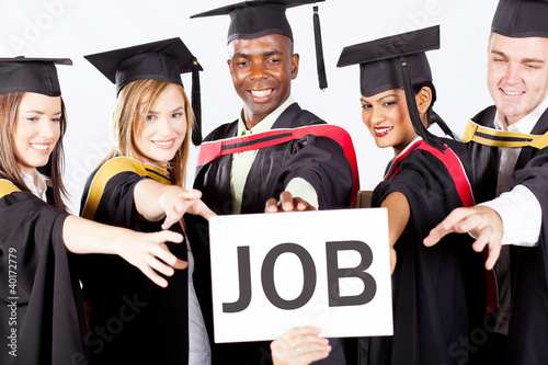 group of graduates grab job
