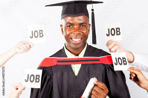 happy african graduate with job offers