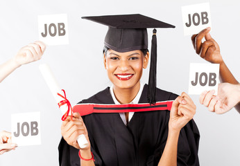 happy female indian graduate with job offers