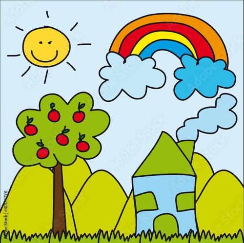 """""""u96f2""""]可爱的图像基层夏天天空太阳家山彩色彩虹"""