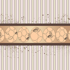 banner with eggs on striped background