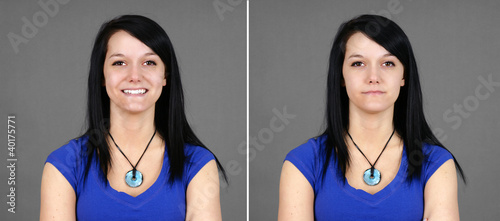 Choice of happy and neutral young woman portrait