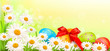 Easter background with eggs and spring flowers