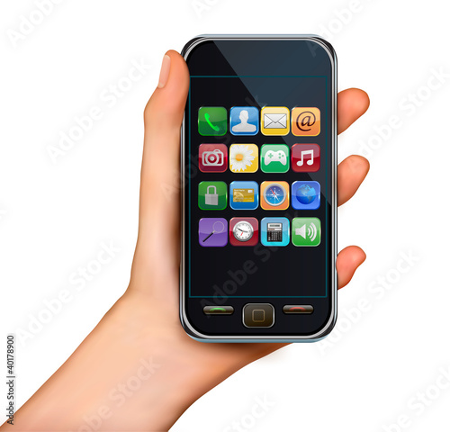 A hand holding touchscreen mobile phone with icons