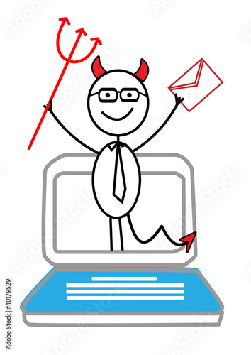 email, Notebook & red devil