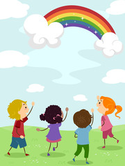 Kids Admiring a Rainbow