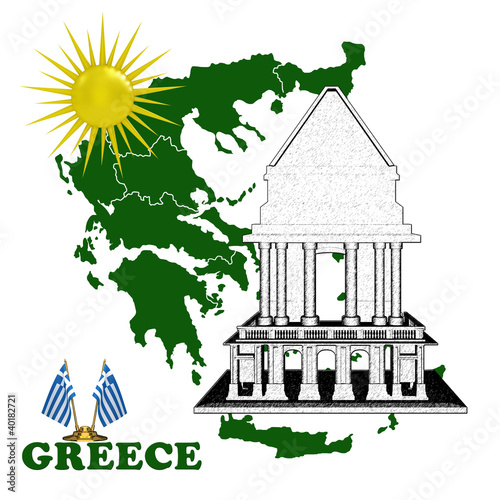 Map of Greece with the temple and the sun