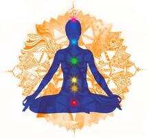 Lotusställning och färgade chakra