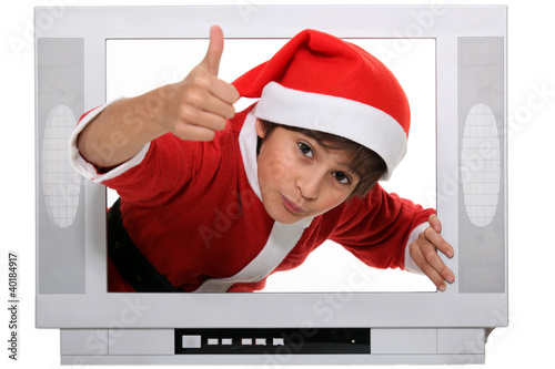 portrait of a kid in Santa Claus costume