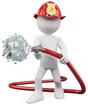 3D fireman putting out a fire