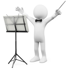 3D conductor leading the orchestra